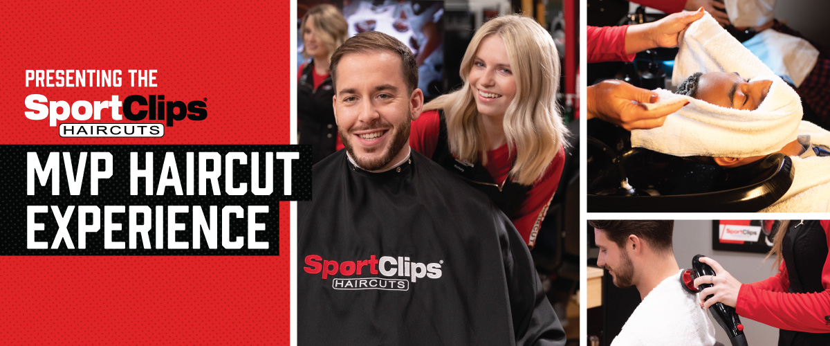 The Sport Clips Haircuts of Lone Tree MVP Haircut Experience with stylist giving a client a haircut, a hot towel placed on his face, and using a massager on a clients upper back